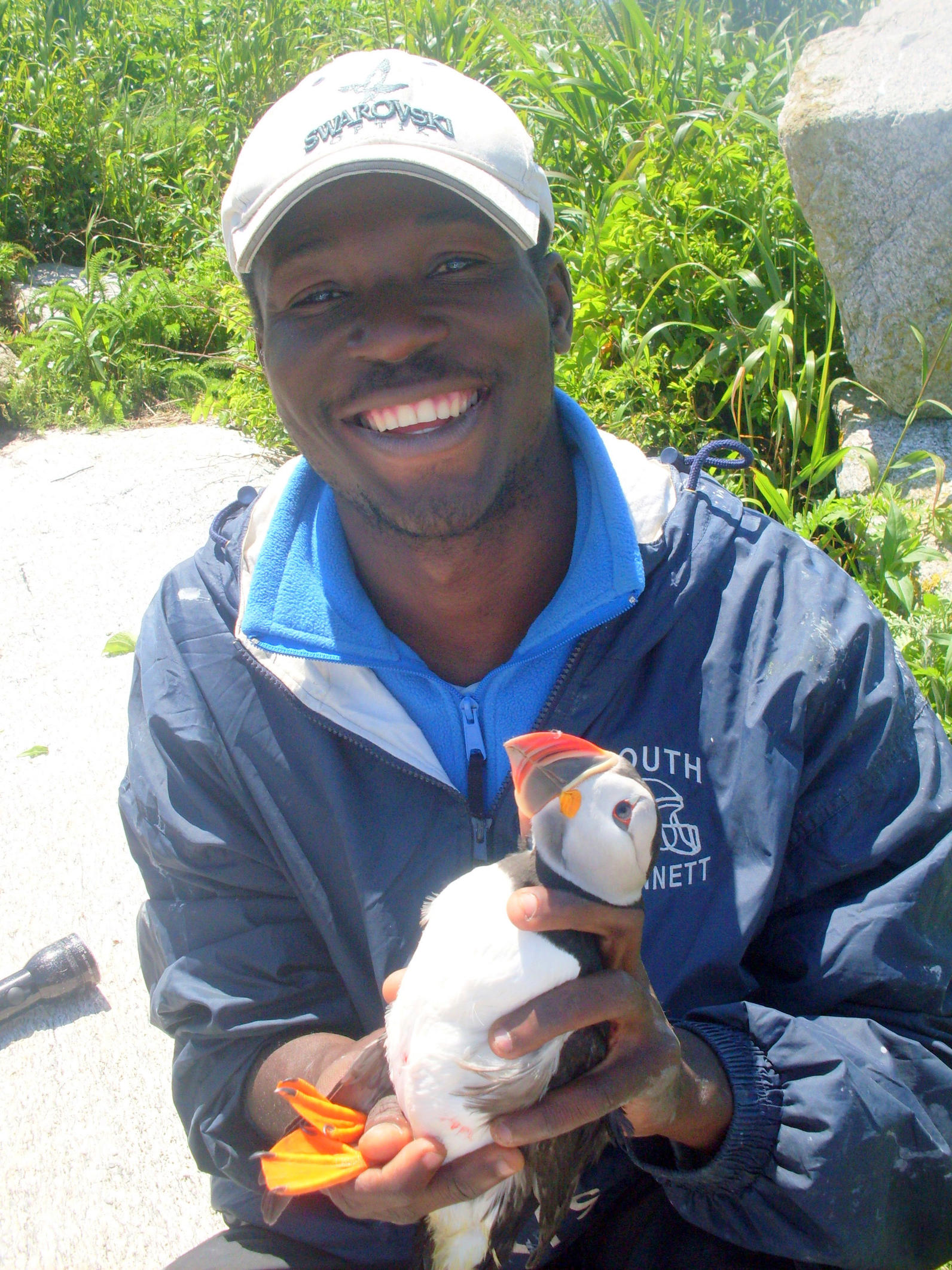 Anderson Jean at Eastern Egg Rock with Atlantic Puffin
