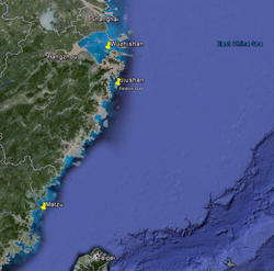 Chinese Crested Tern Colonies Map