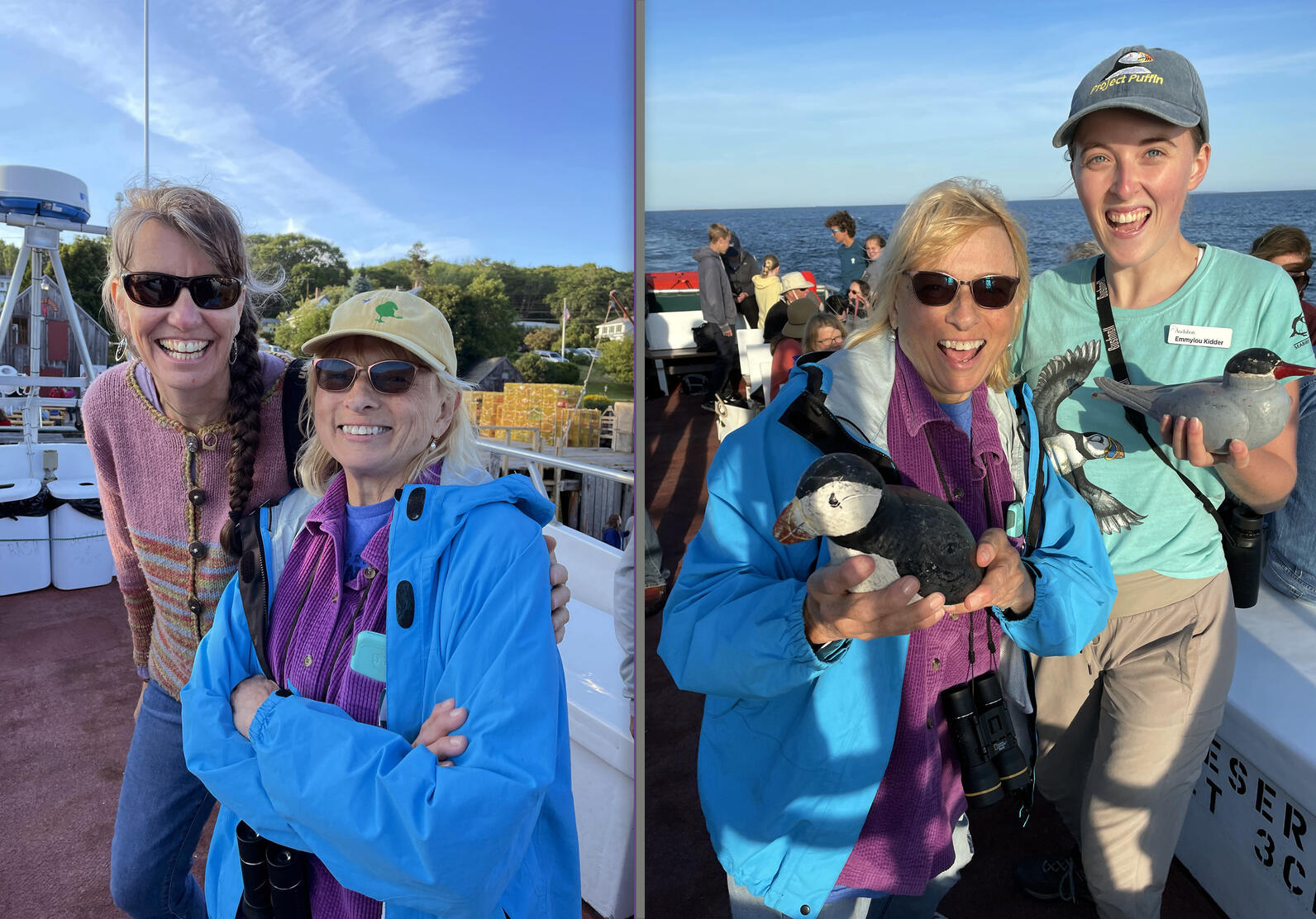 Hardy Boat's Stacie Crocetti, Maine Gov. Janet Mills, and Audubon Outreach Assistant, Emmylou Kidder