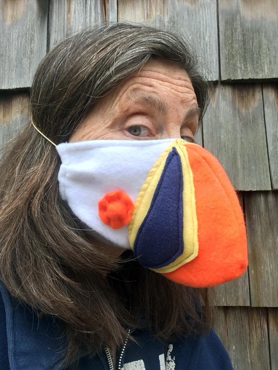 Sue Schubel in Puffin Mask