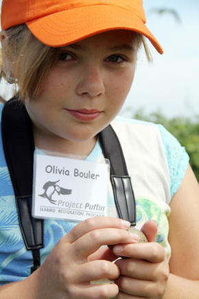 Olivia Bouler with Laughing Gull Egg