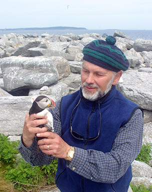 Steve Kress with Atlantic Puffin Friend