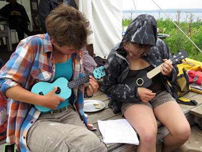 Researchers with Ukeleles